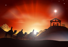 Traditional Christmas Nativity Scene royalty free illustration