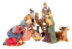 Christmas Nativity Scene. Traditional Christmas nativity scene with Mary and Joseph and baby Jesus isolated on a white background Royalty Free Stock Image
