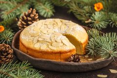 Traditional Christmas Norwegian almond pie in Christmas decora