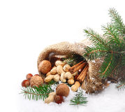 Traditional Christmas nuts. An assortment of traditional Christmas nuts spilling out of a hessian bag onto fresh winter snow with pine foliage and copyspace for royalty free stock photography