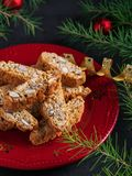 Traditional Christmas pastries, Italian homemade biscotti cookies or cantuccini, with almonds nuts stock image