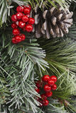 Traditional Christmas Pinecone and Berries. For Background stock image