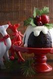 Traditional Christmas Plum Pudding Stock Photo
