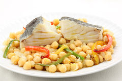 Traditional christmas portuguese dish-boiled cod f Stock Image
