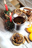 Traditional Christmas punch on the wooden background Royalty Free Stock Photo