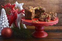 Traditional Christmas Rich Fruit Cake. Royalty Free Stock Photo