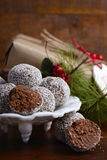 Traditional Christmas Rum Ball Candy. Royalty Free Stock Photos