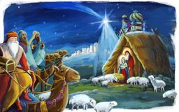 Traditional christmas scene with holy family for different usage. Traditional christmas scene with holy family and three travelers heading to jesus - for royalty free illustration