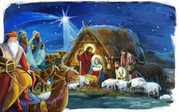 Traditional christmas scene with holy family and three kings for different usage. Illustration for children royalty free illustration