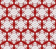Traditional Christmas Seamless Pattern with Isometric 3D Snowflake Stock Images