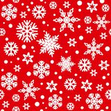 Christmas seamless pattern with white snowflakes falling on red bakground. Vector illustration. Traditional Christmas seamless pattern with white snowflakes vector illustration