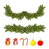 Traditional Christmas set for festive decorations. FIR branches. And Christmas balls. Boxes with gifts and Mint sweets Stock Photo
