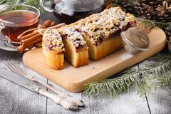 Traditional christmas Shtollen cake royalty free stock photos
