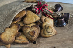 Traditional Christmas spiced cookies. Assortment of traditional Christmas spiced cookies in a bag Royalty Free Stock Image