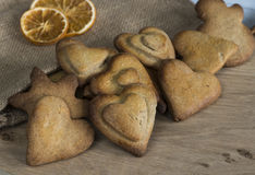 Traditional Christmas spiced cookies. Assortment of traditional spiced Christmas cookies on wooden table Stock Photos