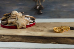 Traditional Christmas spiced cookies. On wooden board Stock Photography