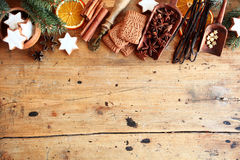 Traditional Christmas spices and cookies Stock Image