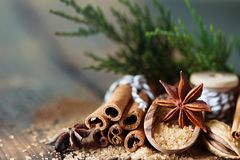 Traditional Christmas spices, food background. Copy space royalty free stock images