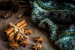 Traditional Christmas spices star anise, cinnamon sticks for fe stock photo