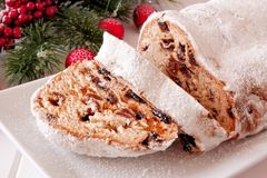 Traditional Christmas stollen dessert royalty free stock photography