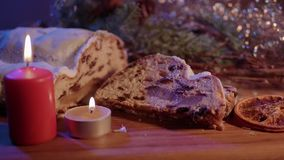 Traditional Christmas stollen - the famous cake for XMas. Food photography stock video footage