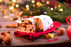 Traditional Christmas Stollen stock images