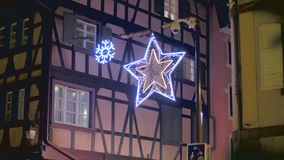Traditional Christmas street decoration stock video footage