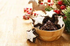 Traditional Christmas sweet gingerbread cookies Stock Image