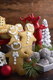 Traditional Christmas sweets and party food. Royalty Free Stock Photo