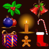 Traditional Christmas symbols Stock Images
