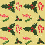 Traditional christmas symbols background. Christmas symbols on snowy background Stock Photo