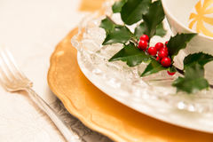Traditional Christmas table setting Royalty Free Stock Photos