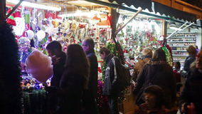 Traditional Christmas toys and gifts. BARCELONA, SPAIN - NOVEMBER 30, 2015: Traditional Christmas toys and gifts at stand in evening. Barcelona, Catalonia
