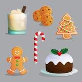 Traditional Christmas treats illustration set Royalty Free Stock Image