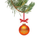 Traditional Christmas Tree Decoration hanging from a tree branc Royalty Free Stock Photo