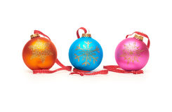 Traditional Christmas Tree Decorations isolated on a white back Stock Photography