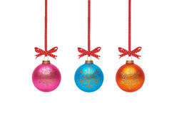 Traditional Christmas Tree Decorations isolated on a white back Royalty Free Stock Images