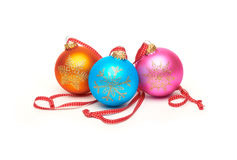 Traditional Christmas Tree Decorations isolated on a white back Stock Photos