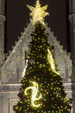 2014 - Traditional Christmas tree at Peace square in front of Saint Ludmila Church Royalty Free Stock Images