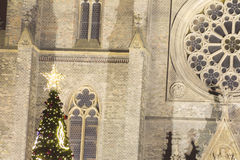 2014 - Traditional Christmas tree at Peace square in front of Saint Ludmila Church Royalty Free Stock Photos