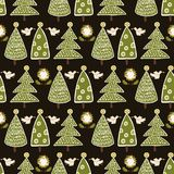 Traditional Christmas Trees Doodle vector illustration