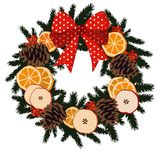 Traditional christmas wreath with dried fruit - or Royalty Free Stock Photo