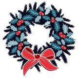 Traditional christmas wreath with holly, berries on evergreen and ribbon, decoration, isolated  illustration Royalty Free Stock Photo
