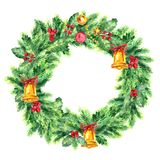 Traditional christmas wreath isolated on white background. Festive decoration. Traditional Christmas wreath. Watercolor Illustration. Winter decorative garland Royalty Free Stock Photography