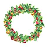 Traditional christmas wreath isolated on white background. Festive decoration. Traditional Christmas wreath. Watercolor Illustration. Winter decorative garland Royalty Free Stock Photos