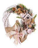 Traditional christmas wreath isolated on white background. Stock Photography