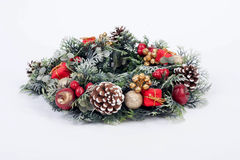 A traditional christmas wreath on white background Stock Images