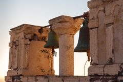 Traditional church in Cyclades style in evening light Stock Photos