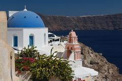 Traditional church in Cyclades style, Oia village Royalty Free Stock Photos