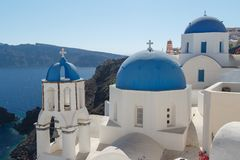 Traditional church in Cyclades style, Oia village Royalty Free Stock Image